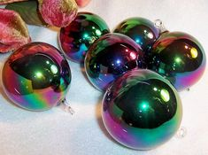 16 six large iridescent blown glass ball christmas ornaments from home for the holidays on ruby