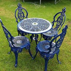 Outdoor Table Settings, Outdoor Tables And Chairs, Garden Table And Chairs, Outdoor Rooms, Outdoor Living, Iron Patio Furniture, Wrought Iron Patio Chairs, Patio Furniture Covers, Rococo Furniture