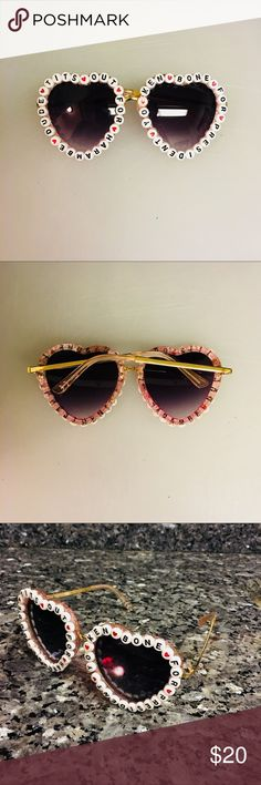 "3a36184e Custom ""Ken Bone/Harambe"" Sunglasses Heart shaped sunglasses with beading  that reads """