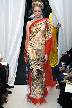 Gold Japanese-style fabric dress with red trim - Jean Paul Gaultier