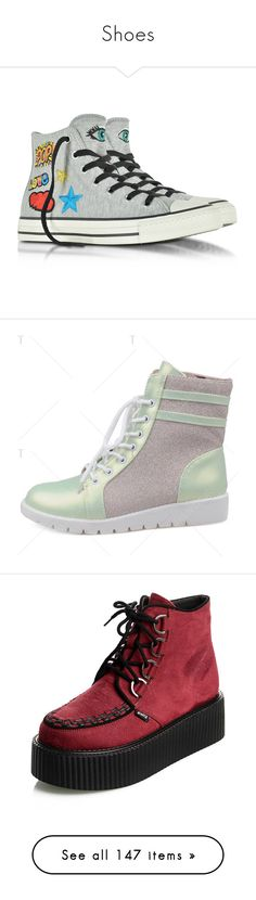 """""""Shoes"""" by squid-man ❤ liked on Polyvore featuring shoes, sneakers, grey shoes, grey trainers, lace up shoes, converse shoes, fleece footwear, boots, ankle booties and bootie boots"""