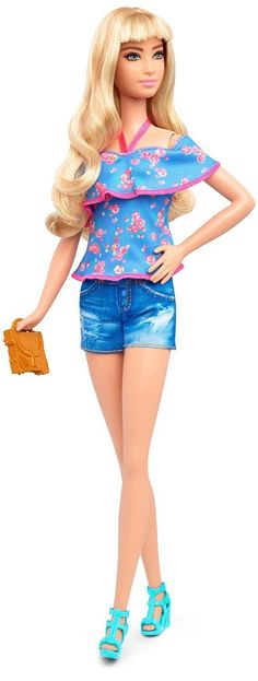 Barbie Fashionista Tall Blonde Doll with 2 Additional Outfits, Blue Print 3