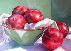 Katie Trinkle Legge - painting - Baradene PTA - Art Show Vegetable Painting, Plum Fruit, Apple Painting, Fruits And Vegetables, Hand Painted, Painted Porcelain, Still Life, Serving Bowls, Flora