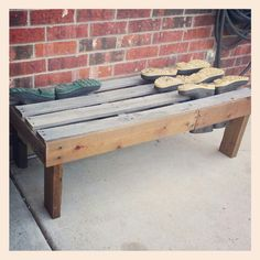 Mud boot bench made out of an old pallet.