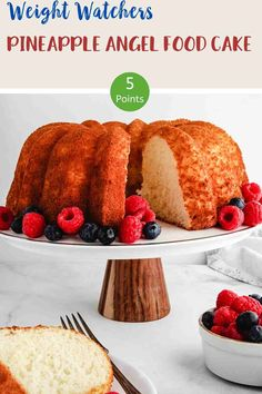 This 3 ingredient Pineapple Angel Food Cake is just 5 SmartPoints per portion on all of the Weight Watchers plans. An easy, delicious WW dessert recipe. #weightwatchersdessertrecipe #wwrecipes #wwrecipeswithpoints #wwdesserts #wwblueplan #wwgreenplan #wwpurpleplan Weight Watchers Cake, Weight Watcher Cookies, Weight Watchers Desserts, Ww Recipes, Cake Recipes, Dessert Recipes, Healthy Recipes, Healthy Eats, Recipies