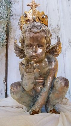 Large hand painted cherub statue with handmade by AnitaSperoDesign, $240.00