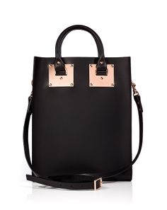 SOPHIE HULME Leather Mini Tote in Black-Rose