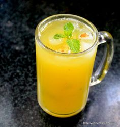 Aam Panna recipe is an Indian summer drink made out of unripe mangoes and is the best drink which cures many ailments and a cool drink to beat the heat. Mango Desserts, Mango Recipes, Veg Recipes, Indian Food Recipes, Cooking Recipes, Juice Recipes, Drink Recipes, Refreshing Drinks, Summer Drinks