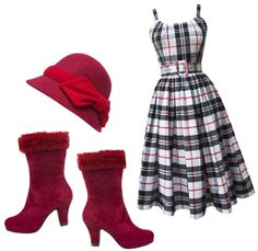 Easily make the Annette Dress in Black  Red Plaid winter ready by pairing it with the Montana Boots by Miss L Fire and topping it off the the DeLux Penelope Cloche.