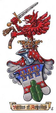 Love the dragon / demon up on top... Coat of Arms Marco Foppoli, Heraldic Artist... http://www.marcofoppoli.com/index.php?p=illustrazioni_araldiche