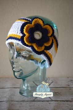 READY TO SHIP - Teen/Adult San Diego Chargers Inspired Flower Earwarmer Headband with Logo Center - Football by SimplySquid on Etsy