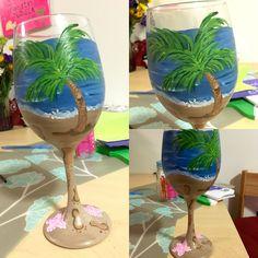 Beach themed hand painted wine glass