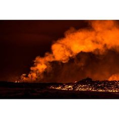 Lava fountains at night eruption at the Holuhraun Fissure near the Bardarbunga Volcano Iceland Canvas Art - Panoramic Images (36 x 12)