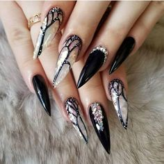 Best Black Stiletto Nails Designs For Your Halloween – OSTTY Halloween Acrylic Nails, Halloween Nail Designs, Cute Acrylic Nails, Halloween Halloween, Acrylic Art, Nails Opi, Fun Nails, Coffin Nails, Bling Nails