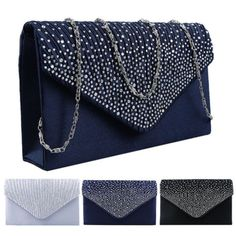 f5c6c7ae39b Very beautiful satin diamante bags, eye-catching that will make you a star.  Perfect for wedding parties or a night out. Each bag has a shoulder chain  or ...