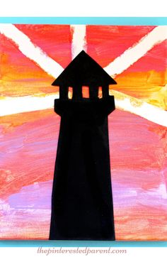 Tape resist & silhouette sunset lighthouse canvas painting - arts & crafts projects for kids with free printable.