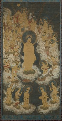 Late 14th C. Pure Land Buddhist Raigo Scroll. Welcoming Descent of Amida and Twenty-five Bodhisattvas hung by dying believers' bedsides to help ensure the faithful's rebirth in the Western Paradise. A silken cord often was attached to the Buddha's hand, a support to lead the soul to paradise. Silk painting with gold. Japan