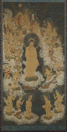 Late 14th C. Pure Land Buddhist Raigo Scroll. Welcoming Descent of Amida and Twenty-five Bodhisattvas hung by dying believers' bedsides to help ensure the faithful's rebirth in the Western Paradise. A silken cord often was attached to the Buddha's hand, a support to lead the soul to paradise. #Amitabha #Buddha #Amida #NamoAmitabhaBuddha #阿弥陀佛 #南无阿弥陀佛 #观世音菩萨 #Avalokiteshvara #大势至菩萨 #mahasthamaprapta #bodhisattva #菩萨  #PureLand #TerrePure #BouddhismeTerrePure #净土 #净土宗