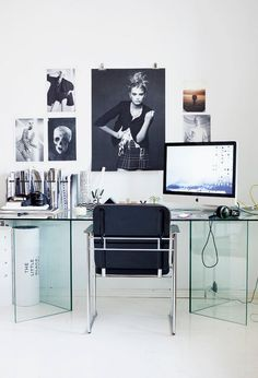 home office :: glass desk :: Scandinavian Style | More ideas here: http://mylusciouslife.com/pictures-of-home-offices-workshops-studios-workspaces-craft-rooms/