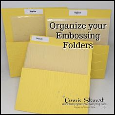 In January, I wanted to focus on organization during my 2-MINUTE TUESDAY TIP videos. Organization always seems to be at the top of the New Year's Resolution list so I wanted to share some quick videos this month to help you KEEP that resolution. Today I want to share a great tip on how to organize your embossing folders.