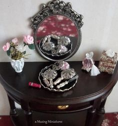 Ladies Silver Vanity Set with Tray in 1 Inch Scale for Dollhouse Miniature Boudoir Roombox