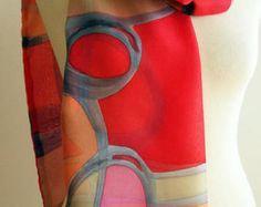 Hand Painted Silk Scarf.Woman Silk Scarf. Double-layer by gilbea