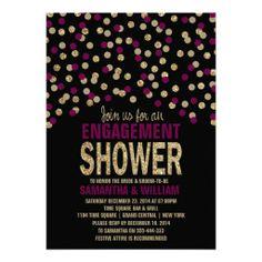 Black Berry Gold Glitter Effect Engagement Shower Custom Invite