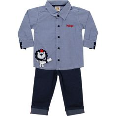 Conjunto Jeans com Camisa Infantil Masculino Marinho - Nini & Bambini :: 764…
