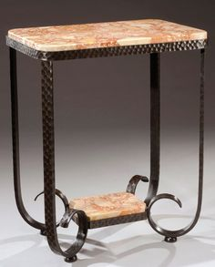 RAYMOND SUBES wrought iron and marble table, c. 1930, signed, 73cm H.