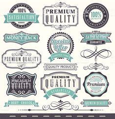 Marketing e emblemas vintage conjunto de quadros vetor e ilustração royalty-free royalty-free