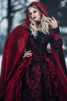 Halloween Wedding Gown Gothic Sleeping Beauty Red and Black Sparkle Fantasy Set with Cape Custom