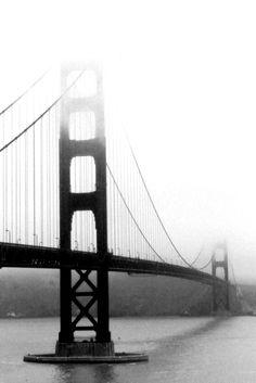 Black and white portrait of the Golden Gate Bridge.