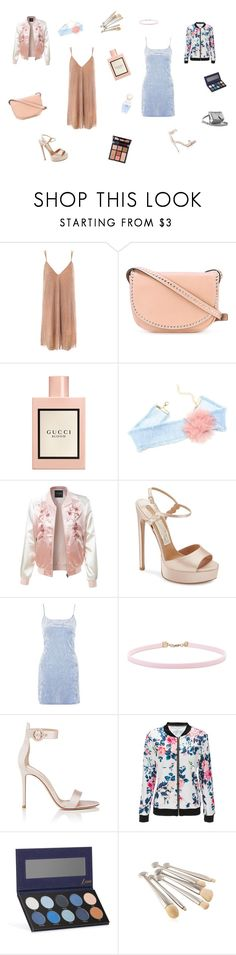 """""""Our Night"""" by aniyahwilson24 ❤ liked on Polyvore featuring Sans Souci, RED Valentino, Charlotte Tilbury, Gucci, LE3NO, Salvatore Ferragamo, Nobody's Child, Forever 21, Gianvito Rossi and Marc Jacobs"""