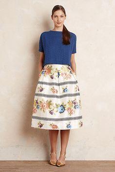 Anthropologie EU Ayana Floral Midi Skirt, White