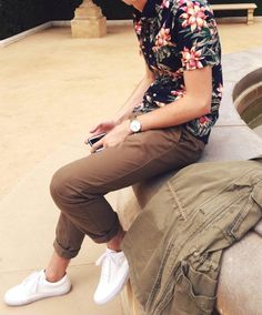 Black floral print with chinos and sneaks