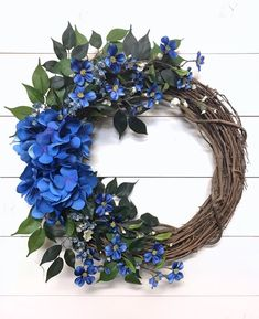 Blue Hydrangea Wreath for Front Door Bright Blue Floral Door Wreath All Season Wreath Hydrange Fall Wreaths, Door Wreaths, Christmas Wreaths, Floral Wreaths, Ribbon Wreaths, Burlap Wreaths, Prim Christmas, Spring Wreaths For Front Door Diy, Greenery Wreath