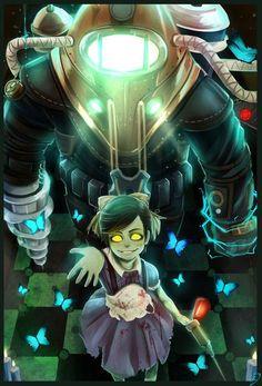 "Big Daddy and Little Sister- Bioshock "" look daddy! It's an aaanngel! Bioshock 2, Bioshock Artwork, Bioshock Rapture, Bioshock Series, Bioshock Infinite, Video Game Logic, Video Game Art, Video Games, Nerd Art"