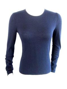 OSCAR DE LA RENTA{ Navy Blue CASHMERE LS CREW NECK SWEATER TOP~XS~ $59.70
