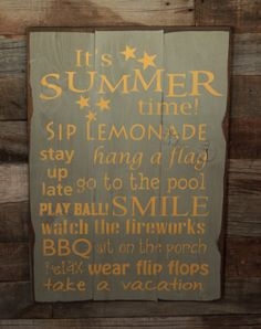 Wahoo!  It's Summer!  Large Wood Sign - It's Summer Time - Subway Sign