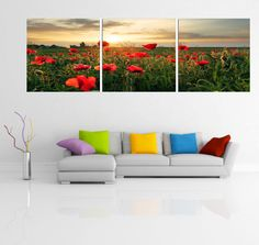 Tiptoe right into these tulips and let the red envelope you. The color really pops and adds light and energy to any room. $220 Available in 3 sizes. Elementem Photography, triptych, tulips, flowers, red, field
