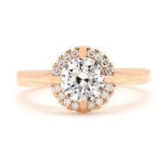 Sholdt Round Halo Engagement Ring in Rose Gold | Greenwich Jewelers
