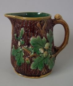 Minton Majolica Acorn and Snail Pitcher