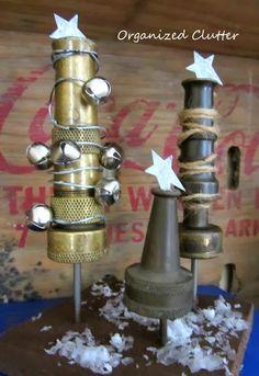 Hose Nozzle Christmas Trees www.organizedclutterqueen.blogspot.com