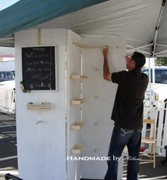 "Handmade by Hilani: {Craft Show} - Selling your products ""I've got it.we'll buy hollow core doors, hinge them, and create a zig, zag wall"" ~ Mr. Handmade Really want fantastic tips and hints concerning arts and crafts? Head out to my amazing info! Craft Booth Displays, Store Displays, Display Ideas, Booth Ideas, Jewelry Displays, Hanging Jewelry, Necklace Display, Jewelry Tree, Jewelry Booth"