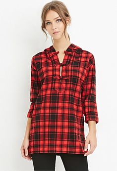 Longline Hooded Plaid Top | Forever 21 - 2000163796