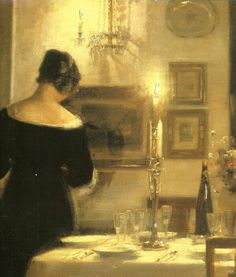 HOLSOE Carl Vilhelm - Danish (1863-1935) ~ In the Dining Room
