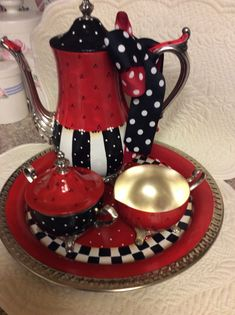 Silver Plated Tea Set/Custom Painted by macnme on Etsy