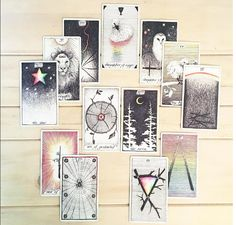 Real life tarot images of modernmystic_tarot instagram Daughter of Cups, The Fool, strength, The star, Ace of Pentacles, The Moon, ace of wands.
