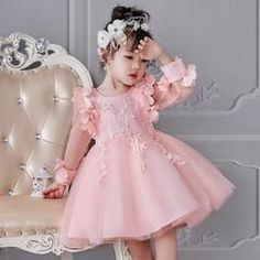 Compre 2020 Vestidos Menina Para Casamentos Festa De Aniversário Mangas Compridas Baby Girl Natal Comunhão Vestidos Girl Dress Pageant De