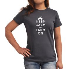 Keep Calm and Farm on Women T-Shirt ($17) ❤ liked on Polyvore featuring tops, t-shirts, black, women's clothing, print tees, black t shirt, black tee, pattern tops and pattern t shirts